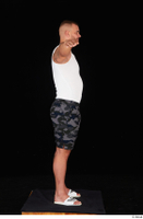 Grigory camo shorts dressed slippers sports standing t poses white tank top whole body 0006.jpg
