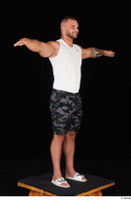 Grigory camo shorts dressed slippers sports standing t poses white tank top whole body 0007.jpg