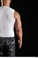 Grigory  1 arm back view dressed flexing sports white tank top 0001.jpg