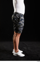 Grigory  1 calf camo shorts dressed side view sports white sneakers 0001.jpg