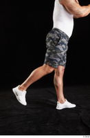 Grigory  1 camo shorts dressed flexing leg side view sports white sneakers 0008.jpg