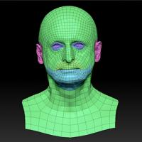 Retopologized 3D Head scan of Milan SubDivision