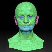 Retopologized 3D Head scan of Jindriska SubDivision