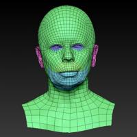 Retopologized 3D Head scan of Galina SubDivision