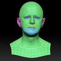 Retopologized 3D Head scan of Anton SubDivision
