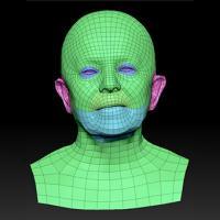 Retopologized 3D Head scan of Ludmila SubDivision