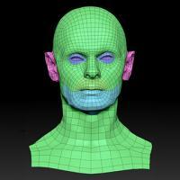 Retopologized 3D Head scan of Viktor SubDivision