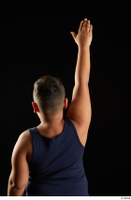 Vano  1 arm back view blue tank top dressed flexing sports 0005.jpg