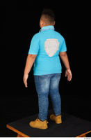 Vano blue t shirt brown workers casual dressed jeans standing whole body 0004.jpg
