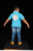 Vano blue t shirt brown workers casual dressed jeans standing whole body 0013.jpg