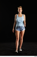 Emily Bright 1 blue tank top casual dressed front view jeans shorts moccasing walking whole body 0001.jpg
