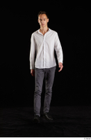 Johnny Reed  1 business dressed front view grey trousers shoes walking white shirt whole body 0001.jpg