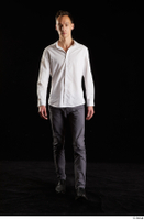 Johnny Reed  1 business dressed front view grey trousers shoes walking white shirt whole body 0004.jpg