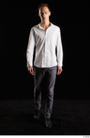 Johnny Reed  1 business dressed front view grey trousers shoes walking white shirt whole body 0005.jpg