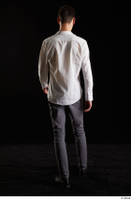 Johnny Reed  1 back view business dressed grey trousers shoes walking white shirt whole body 0001.jpg