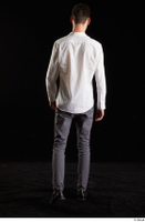Johnny Reed  1 back view business dressed grey trousers shoes walking white shirt whole body 0002.jpg