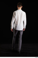 Johnny Reed  1 back view business dressed grey trousers shoes walking white shirt whole body 0003.jpg