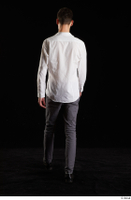 Johnny Reed  1 back view business dressed grey trousers shoes walking white shirt whole body 0004.jpg