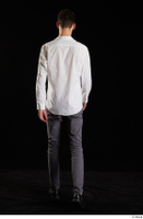 Johnny Reed  1 back view business dressed grey trousers shoes walking white shirt whole body 0005.jpg