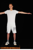 Johnny Reed dressed grey shorts sneakers sports standing t poses white t shirt whole body 0001.jpg