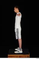 Johnny Reed dressed grey shorts sneakers sports standing t poses white t shirt whole body 0003.jpg