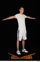 Johnny Reed dressed grey shorts sneakers sports standing t poses white t shirt whole body 0008.jpg