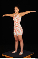 Jennifer Mendez casual dressed floral dress sandals shoes standing t poses whole body 0002.jpg
