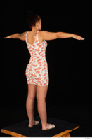 Jennifer Mendez casual dressed floral dress sandals shoes standing t poses whole body 0006.jpg