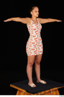 Jennifer Mendez casual dressed floral dress sandals shoes standing t poses whole body 0008.jpg