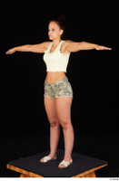 Jennifer Mendez camo shorts casual dressed sandals shoes standing t poses tank top whole body 0002.jpg