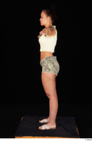 Jennifer Mendez camo shorts casual dressed sandals shoes standing t poses tank top whole body 0003.jpg