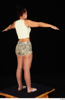 Jennifer Mendez camo shorts casual dressed sandals shoes standing t poses tank top whole body 0006.jpg