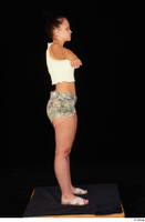 Jennifer Mendez camo shorts casual dressed sandals shoes standing t poses tank top whole body 0007.jpg