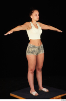 Jennifer Mendez camo shorts casual dressed sandals shoes standing t poses tank top whole body 0008.jpg