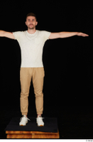 Trent brown trousers casual dressed standing t poses white sneakers white t shirt whole body 0001.jpg