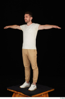 Trent brown trousers casual dressed standing t poses white sneakers white t shirt whole body 0002.jpg