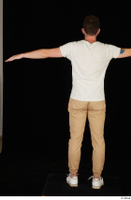 Trent brown trousers casual dressed standing t poses white sneakers white t shirt whole body 0005.jpg