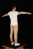 Trent brown trousers casual dressed standing t poses white sneakers white t shirt whole body 0006.jpg