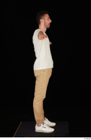 Trent brown trousers casual dressed standing t poses white sneakers white t shirt whole body 0007.jpg