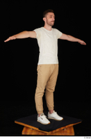 Trent brown trousers casual dressed standing t poses white sneakers white t shirt whole body 0008.jpg