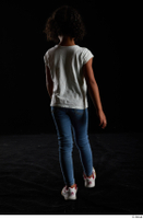 Elissa  1 back view blue jeans casual dressed walking white sneakers white t shirt whole body 0001.jpg