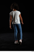 Elissa  1 back view blue jeans casual dressed walking white sneakers white t shirt whole body 0005.jpg