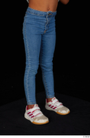 Elissa blue jeans dressed leg lower body sneakers 0008.jpg