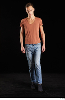 Alessandro Katz  1 black shoes blue jeans brown t shirt casual dressed front view walking whole body 0003.jpg