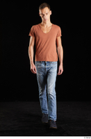 Alessandro Katz  1 black shoes blue jeans brown t shirt casual dressed front view walking whole body 0004.jpg