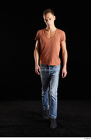 Alessandro Katz  1 black shoes blue jeans brown t shirt casual dressed front view walking whole body 0005.jpg
