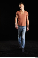 Alessandro Katz  1 black shoes blue jeans brown t shirt casual dressed front view walking whole body 0006.jpg