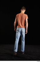 Alessandro Katz  1 back view black shoes blue jeans brown t shirt casual dressed walking whole body 0002.jpg
