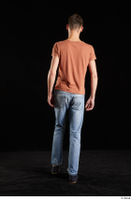 Alessandro Katz  1 back view black shoes blue jeans brown t shirt casual dressed walking whole body 0004.jpg