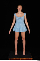 Stacy Cruz beige high heels blue short dress casual dressed whole body 0001.jpg